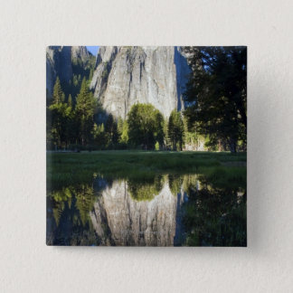 Cathedral Rocks are reflected in a pool of water 15 Cm Square Badge