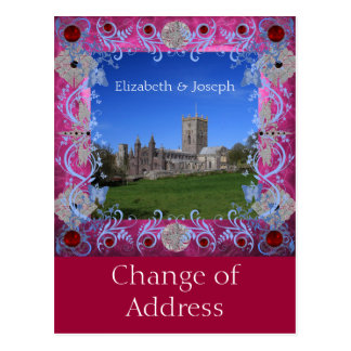 Cathedral rubies Art Deco Change of Address Postcard