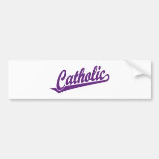 Catholic script logo in purple bumper sticker