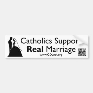 Catholics Support Real Marriage Bumper Sticker