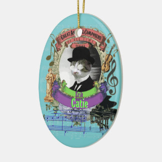 Catie Cat Animal Composer Erik Satie Spoof Christmas Ornament