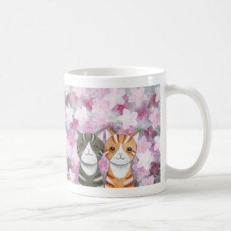 Cats Cherry Blossoms Mug Cute Tabby Cats Flowers