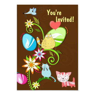 Cats, Easter Eggs and Flowers Birthday Invitation