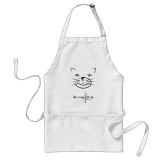 Cat's Face Silhouette With Fish Skeleton Adult Apron