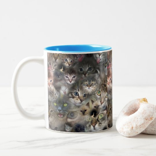 Cats In A Photo Collarge, Two-Tone Coffee Mug