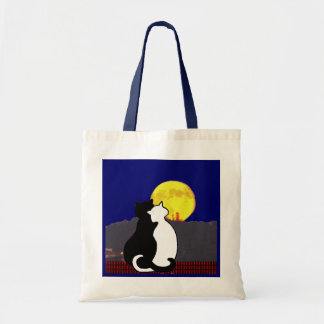 Cats looking at the moon Trick or Treat  tote Tote Bags