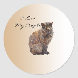 Cats Love People Classic Round Sticker