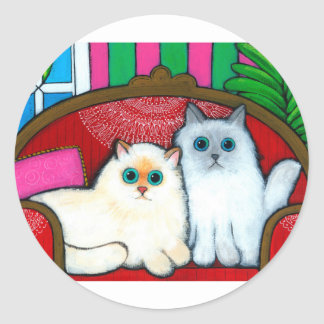 Cats on Couch Classic Round Sticker