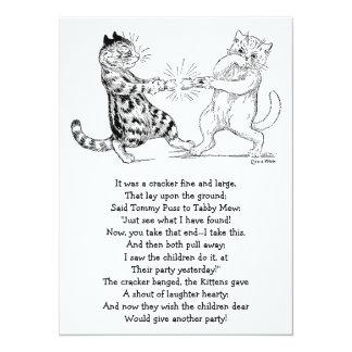 "Cats Pulling Cracker 5.5"" X 7.5"" Invitation Card"