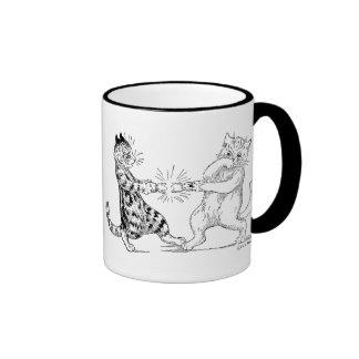 Cats Pulling Cracker Ringer Mug
