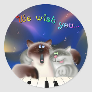 Cats Singing Christmas songs Classic Round Sticker