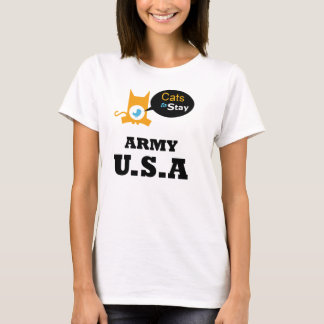 Cats to Stay Army U.S.A. Cat Lovers Sector T-Shirt
