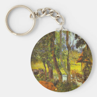 Cattle drinking by Paul Gauguin Basic Round Button Key Ring