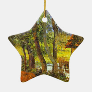 Cattle drinking by Paul Gauguin Ceramic Star Decoration