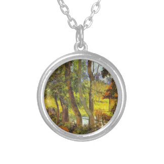 Cattle drinking by Paul Gauguin Round Pendant Necklace