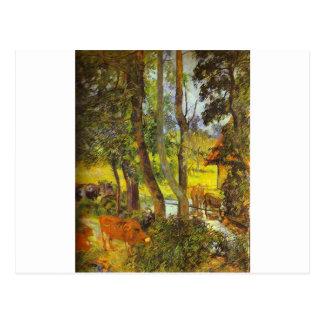 Cattle drinking by Paul Gauguin Postcard