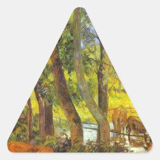 Cattle drinking by Paul Gauguin Triangle Sticker