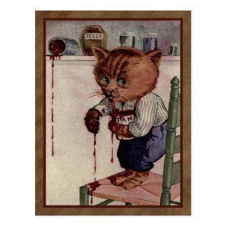 Caught Jam handed - Vintage illustration postcard