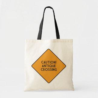 Caution! Antique Crossing Budget Tote Bag
