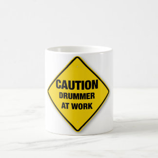 Caution drummer at work coffee mug