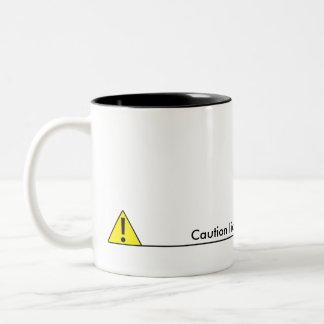Caution liquid level to low Two-Tone coffee mug
