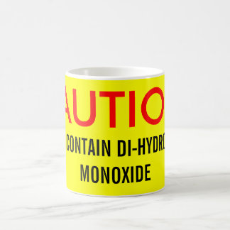 CAUTION:, MAY CONTAIN DI-HYDROGEN MONOXIDE BASIC WHITE MUG
