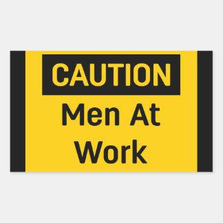 CAUTION Men at Work Rectangular Sticker