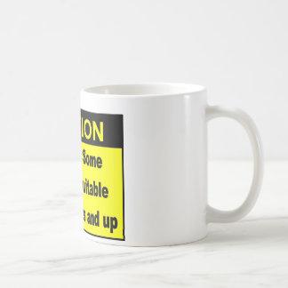 caution classic white coffee mug