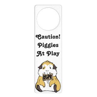 """""""Caution! Piggies at Play"""" Guinea Pig Door Handle Door Hangers"""