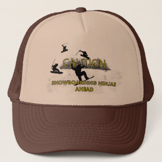 Caution: Snowboarding Ninjas Trucker Hat