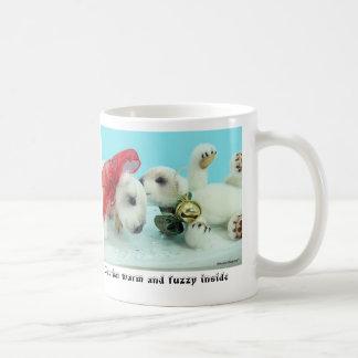 Caution, warm and fuzzy inside coffee mug