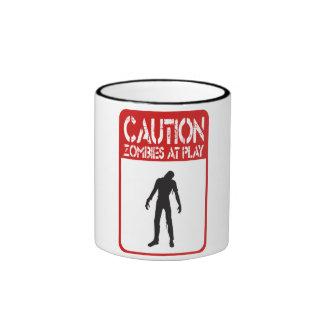 Caution zombies at play ringer mug