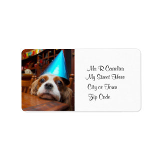 Cavalier  King Charles Spaniel  Birthday Label Address Label