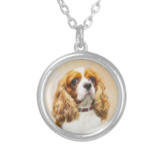 Cavalier King Charles Spaniel Original Painting Silver Plated Necklace