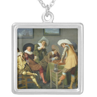Cavaliers in a tavern silver plated necklace