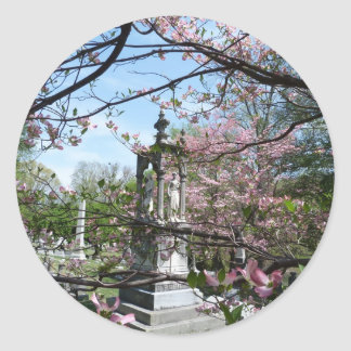 Cave Hill Cemetery Spring time Classic Round Sticker