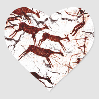 Caveman Art Heart Sticker