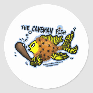 Caveman Fish Classic Round Sticker