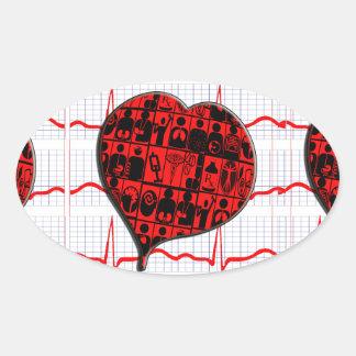 CCU HEART EKG MEDICAL SPECIALTIES OVAL STICKER