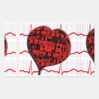 CCU HEART EKG MEDICAL SPECIALTIES RECTANGULAR STICKER