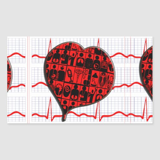 CCU HEART EKG MEDICAL SPECIALTIES RECTANGLE STICKERS