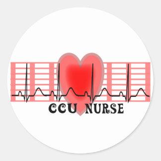 CCU Nurse Gift Ekg paper and Heart Design Classic Round Sticker