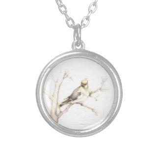 Cedar Waxwing Round Pendant Necklace