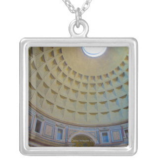Ceiling of the Pantheon in Rome, Italy. Silver Plated Necklace