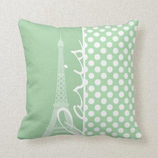 Celadon Green Polka Dots; Paris Throw Cushions