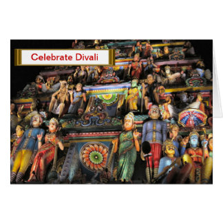 Celebrate Divali, Figures on the gopuram at night Card