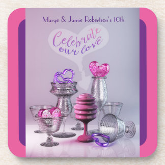 Celebrate Our Love Valentine Hearts Cocktail Glass Coaster