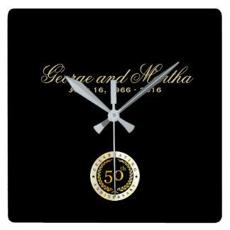 Celebrating 50th Anniversary. Customizable. Square Wall Clock