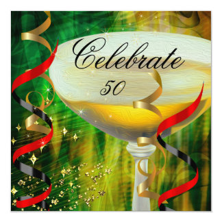 Celebration Champagne Green Red Gold Party 2 Card