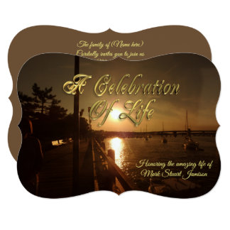 Celebration of life invitation boats in harbour